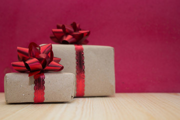 boxes with gifts on red background,concept for Valentines day, anniversary, romantic gift.