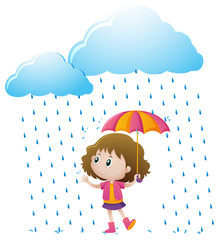 Little girl standing in the rain