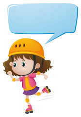 Speech bubble template with girl skating