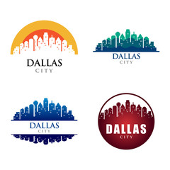Dallas City Building Landmark Skyline Logo Template