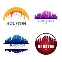 Houston City Building Landmark Skyline Logo Template