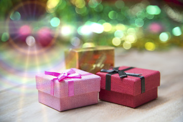 New Year gift boxes, Gradient background