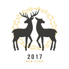 New Year 2017 greeting card with hand drawn deers