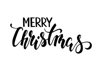 Merry Christmas. Hand drawn creative calligraphy and brush pen lettering.