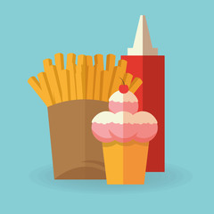 French fries icon. Fast food urban american and menu theme. Colorful design. Vector illustration