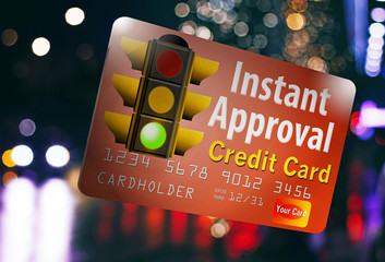 "Instant approval credit card with traffic light to show it is a ""go"" on your approval."