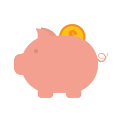piggy money coin dollar golden vector illustration eps 10