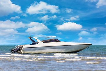 Motorboat on daylight summer season