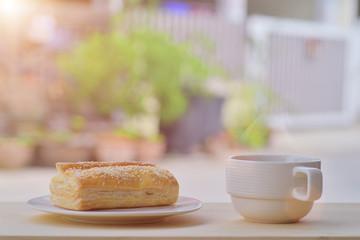Breakfast tuna pie with black coffee