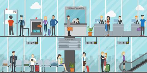 Airport terminal business travel concept. Flat design.