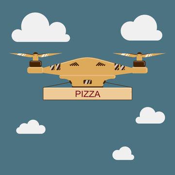 drone quadcopter Pizza delivery vector illustration