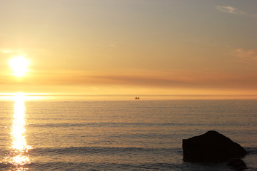 A Long Sunset In The Land Of The Midnight Sun, Featuring A Fishing Boat