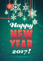 Happy New Year Greeting Card. Background with snowflakes and Toys. Decorative Holiday Illustration