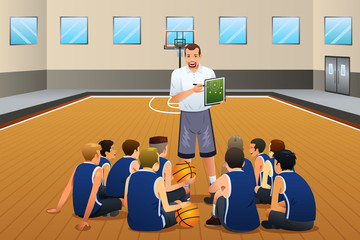 Basketball Coach Talking With His Players on the Court