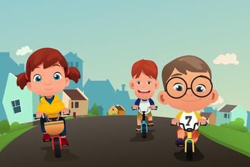 Happy Kids Biking on the Street