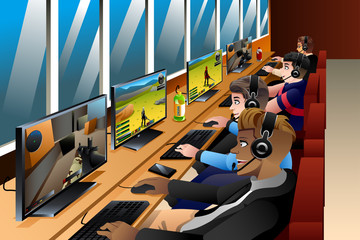 Young People Playing Games on an Internet Cafe