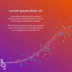 Abstract Background with Colorful Music notes on stave. Vector I