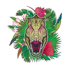 Detailed sketch style drawing of the roaring tirannosaurus rex head on a decoratve bunch of tropical leaves and flowers. Painted sketch. EPS10 vector illustration.