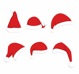 Santa Claus red hat set. Christmas clothes holiday elements on white background
