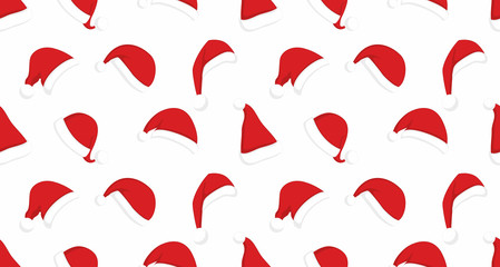 Seamless pattern with Santa Claus red hats. Christmas clothes holiday background
