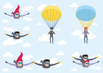 Skydiver man and woman flying in the blue sky. Set of parachutist characters with paratrupers