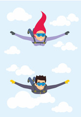 Skydiver man and woman flying in the blue sky. Vector characters illustration in flat style