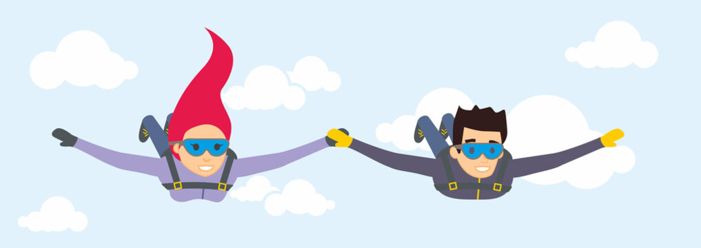 Vector characters skydivers man and woman. Paratroopers flying in the blue sky.