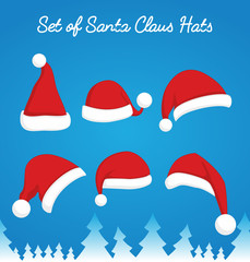 Santa Claus red hat set. Christmas clothes holiday elements on blue background