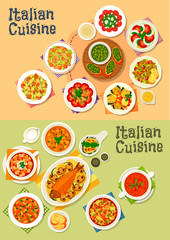 Italian cuisine icon set for dinner menu design