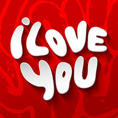 Words I Love you shaped in heart symbol