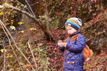 little boy standing in the woods outdoors with mobile phone