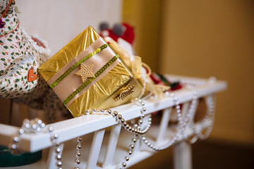 Presents and gifts of Happy New Year. Holiday decoration