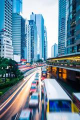 Traffic in downtown of Hong Kong,China.