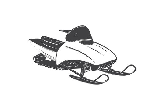 Detailed snowmobile. Travel in the mountains in winter. Transport for sports. Isolated detailed subject. Typographic labels, stickers, logos and badges.