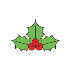 Christmas Holly flat line icon