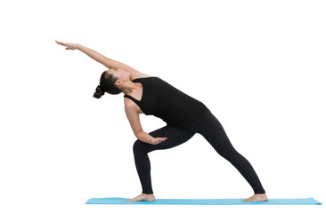 Beautiful Asian woman practicing yoga pose on white background