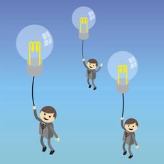 Businessman fly with idea