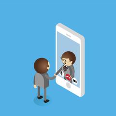 Businessman make video call with businessman