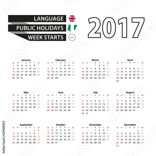 Calendar Nigeria : Quot calendar on english language with public holidays