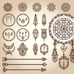 Dreamcatcher contractor. Set of different vector parts of decorative dreamcatcher: frame ring (hoop), feathers, weaving ornaments, arrows. To create dreamcatcher for design boho projects or for tattoo