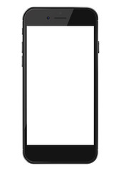 Smart phone with blank screen isolated on white background. Vector illustration. EPS10.