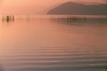 夕霞の琵琶湖