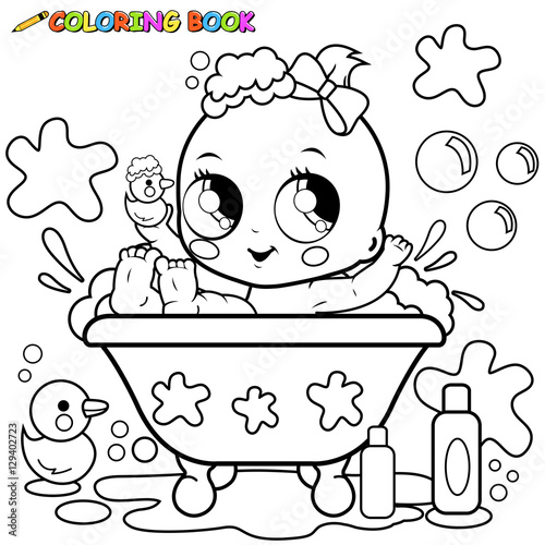 Baby girl taking a bath. Coloring page\