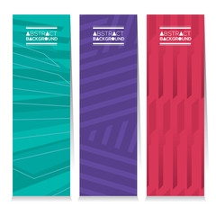 Modern Design Set Of Three Abstract Vertical Banners Vector Illustration