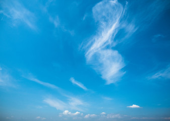 Picture of the blue sky with light clouds. Background of the blue sky with small light clouds close up.
