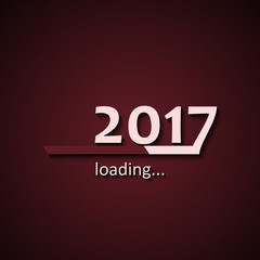 Loading 2017 inscription bar - flat design template, red edition