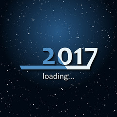Loading 2017 inscription bar - flat design template, blue edition