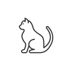 Pet cat line icon, outline vector sign, linear pictogram isolated on white. Symbol, logo illustration
