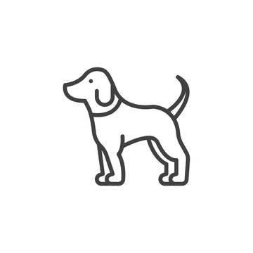 Pet dog line icon, outline vector sign, linear pictogram isolated on white. Symbol, logo illustration