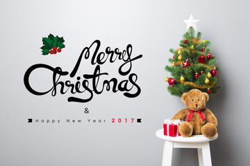 MERRY CHRISTMAS and HAPPY NEW YEAR 2017 text on the wall